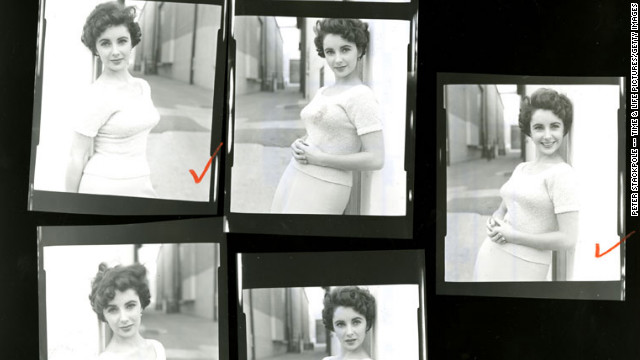 "Shown here is a close-up of a contact sheet with pictures of Taylor on the set of ""A Place in the Sun."" View more unpublished images of Elizabeth Taylor at Life.com."