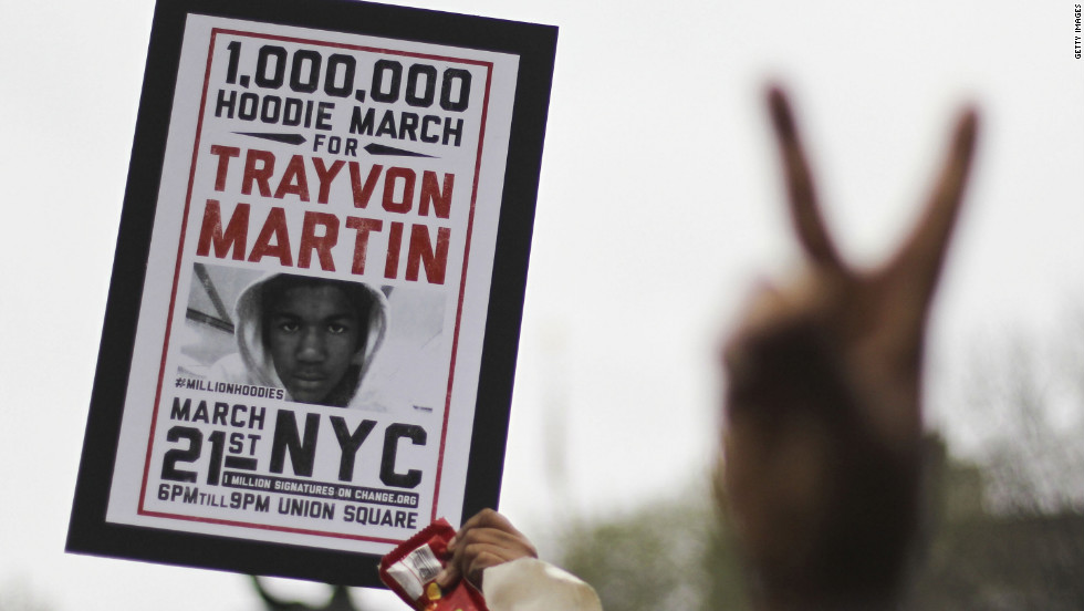 Supporters of Trayvon Martin rally in New York's Union Square during a &quot;Million Hoodie March&quot; on Wednesday, March 21. Trayvon, 17, was shot to death February 26 while walking in a gated community in Sanford, Florida. George Zimmerman, a neighborhood watch leader, said he shot the teen in self-defense.