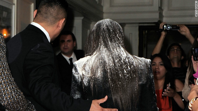 Kim Kardashian gets flour-bombed on red carpet