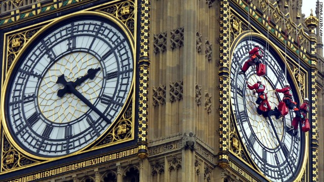 &quot;Big Ben&quot; is one of London's most famous landmarks. The four glass clock faces on the tower, each measuring seven meters in diameter, are cleaned by a team of experts once every five years.