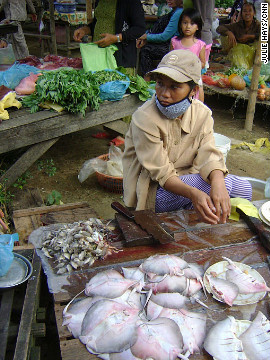 A vendor at an outdoor market in a village near the city of Hoi An displays stingrays for sale. 