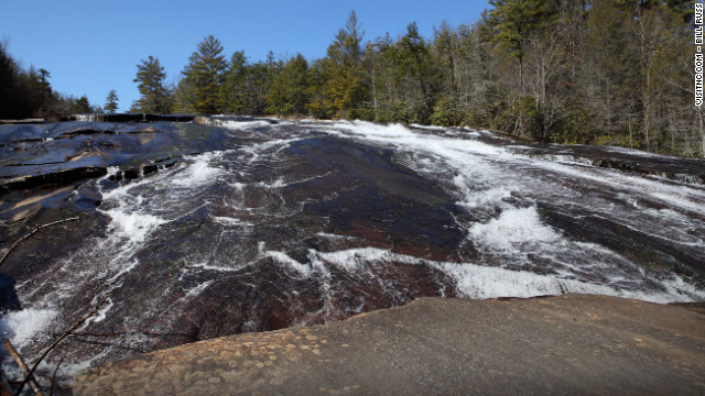 The base of North Carolina's Bridal Veil Falls at DuPont State Forest was featured in the movie.