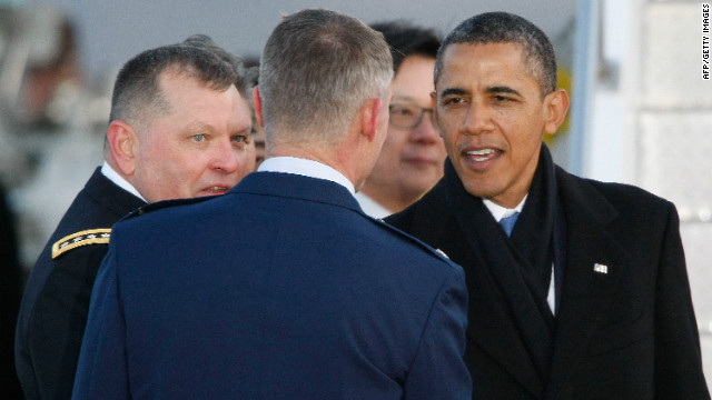 U.S. President Barack Obama arrives at Osan Air Base on March 25, 2012 in Osan, South Korea.
