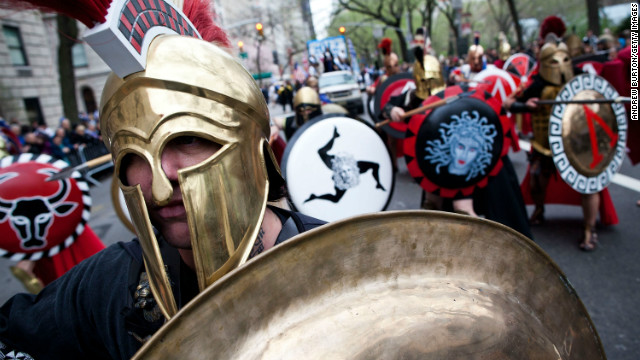 Men dressed as traditional Greek warriors participate in the annual Greek Independence Day Parade on March 25 in New York City.