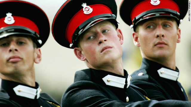 June 2005: Prince Harry takes part in the Trooping Of New Colours alongside his fellow officer cadets at the Royal Military Academy.