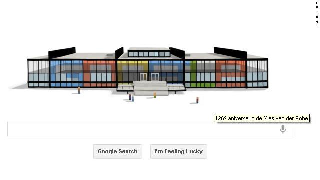 """Google crea un """"doodle"""" de vidrio para homenajear a Mies van der Rohe"""