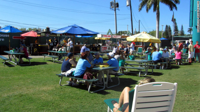 Funnel cakes, corndogs and turkey legs are available at McKechnie Field, spring training home of the Pittsburgh Pirates.