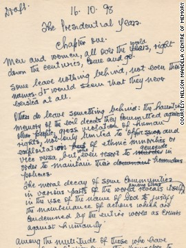 The handwritten first page of Mandela's unpublished sequel to his autobiography, &quot;Long Walk to Freedom.&quot;