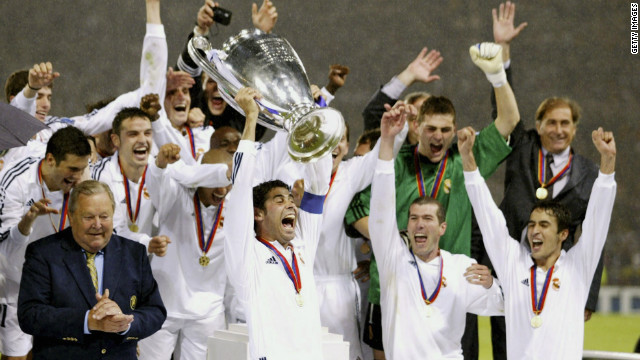 "Real's last European title came in 2002, in the era of FIFA World Player of the Year winners Zinedine Zidane, Luis Figo and Ronaldo. The team were nicknamed the ""Galacticos"" due to the club's policy of recruiting expensive superstars."