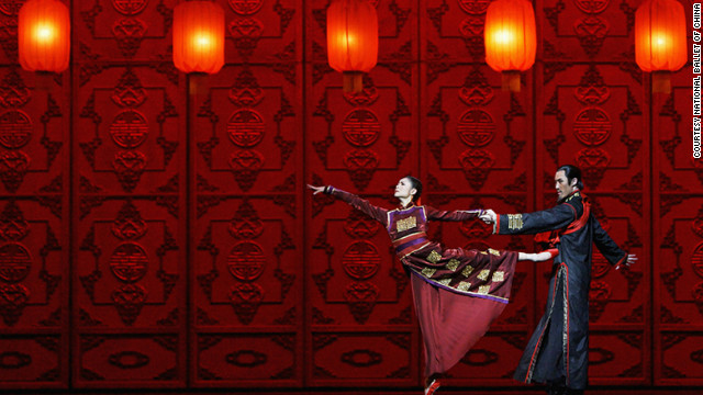 "Dancers from the National Ballet of China in a production of ""Raise the Red Lantern."" The piece contains a distinctive mix of modern and classical dance, traditional opera and period dress."