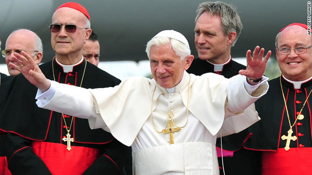 Pope Benedict XVI gestures upon arrival at Jose Martí International Airport in Havana on Tuesday, March 27.