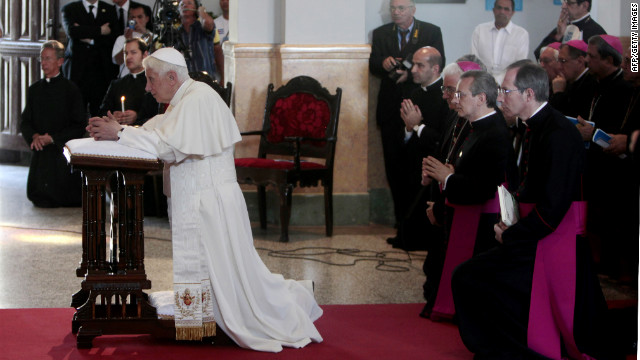 Pope Benedict XVI prays during a visit to the Church of Charity in Santiago de Cuba.