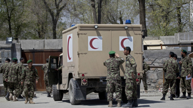 A file image of the Afghan Defense Ministry in Kabul, taken after a shooting at the ministry on April 18, 2011.
