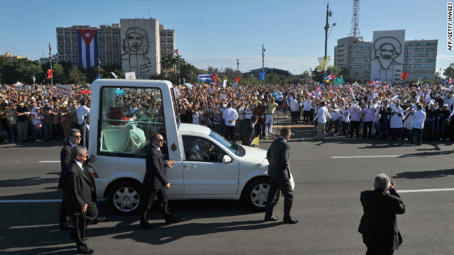 "Pope Benedict XVI arrives in his popemobile at Revolution Square. Former Cuban leader Fidel Castro said he asked for a ""modest and simple"" meeting with the pontiff."
