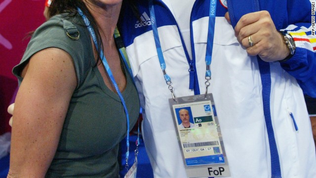 Nadia Comaneci and Romania team coach Octavian Bellu at the Athens Olympics in 2004.