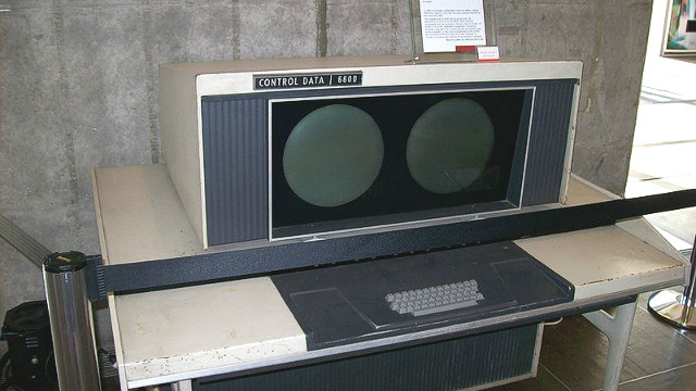 A console from what is considered the world's first supercomputer -- the CDC 6600. Designed by American Seymour Cray and completed in 1964, it could perform more than one million floating operations per second.