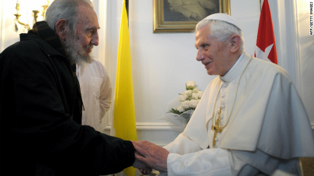 Pope Benedict XVI with Cuban leader Fidel Castro during a meeting on March 28.