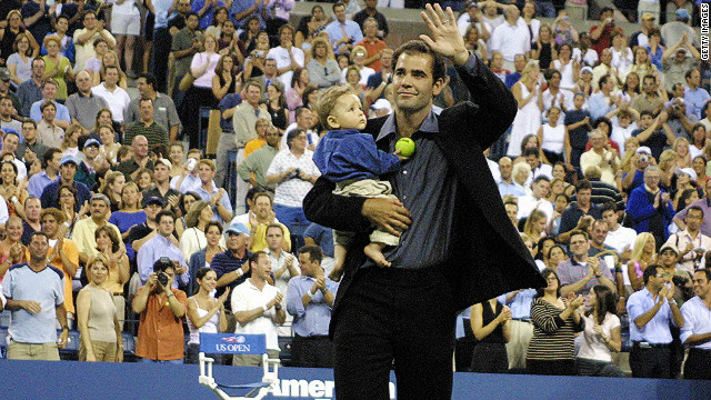 Sampras has two boys, aged nine and six, with his actress wife Bridgette Wilson. He is encouraging his sons to play both golf and tennis.
