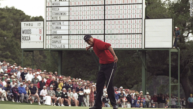 In 1997, Tiger Woods set the record for lowest winning score in the tournament's history as he won it for the first time. His four-round total of 18-under-par 270 beat Jack Nicklaus's 1965 record by one stroke. Woods also smashed the record for the biggest winning margin, coasting home by 12 strokes ahead of nearest rival Tom Kite. At the tender age of 21 years, three months and 14 days, he was the youngest winner of a Green Jacket. <br/><br/>