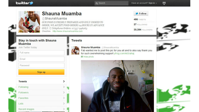 The Twitter blog of Fabrice Muamba's girlfriend Shauna showing the picture of him sitting up in his hospital bed. 