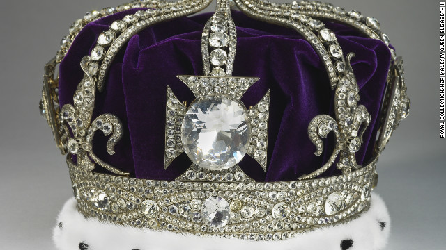 Queen Alexandra's Crown was designed with eight arches, a style typical of her native Denmark. It was originally set with the Koh-i-Nur diamond, which is now in the Queen Mother's Crown -- today it is set with paste stones.