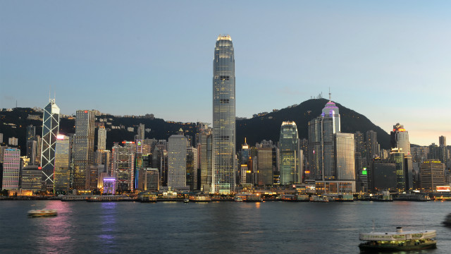 Lights illuminate the Central district of Hong Kong and the International Finance Centre, built by Sun Hung Kai Properties. 