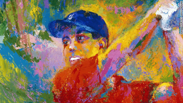 "LeRoy Neiman's 2006 work, ""Tiger in the Woods,"" is on display at Augusta's Morris Museum of Art."