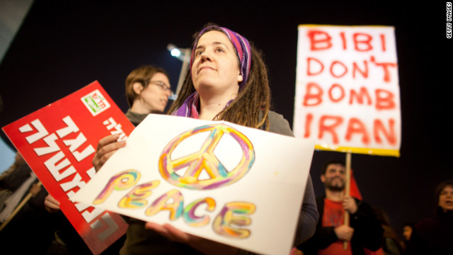 Israelis demonstrate on Saturday in Tel Aviv against war with Iran.