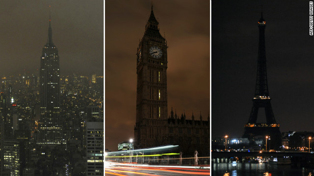 A combo image of file pictures of the Empire State Building in New York, Big Ben in London and the Eiffel Tower in Paris with lights turned off during Earth Hour in 2009.