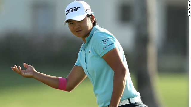 Yani Tseng shows her frustration after a putt fails to drop during her third round 71 at Mission Hills.