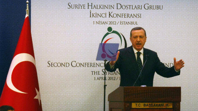 Turkish Prime Minister Recep Tayyip Erdogan speaks at the 'Friends of Syria' conference in Istanbul.
