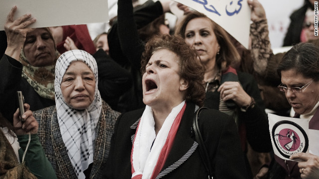 Hundreds of women marched in Cairo on International Women's Day, March 8, for the right to co-draft Egypt's new constitution.