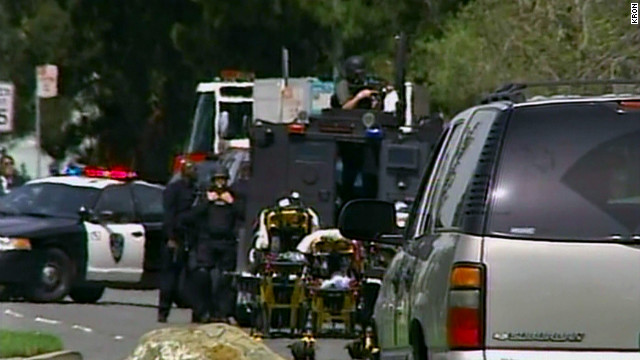 Emergency crews respond to the shooting at the California religious school.