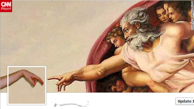 "Patrick Duffy of Atlanta decided to <a href='http://ireport.cnn.com/docs/DOC-767203'>re-create Michelangelo's fresco</a> ""The Creation of Adam"" for his cover photo. He combined an image of the famous painting with a photo he shot of one of his hands, putting himself in Adam's place. ""I was resistant to (Timeline) at first,"" Duffy says, ""but I've seen so many changes over the years in Facebook that I realize people are just resistant to change, we will get over it quickly. I have actually found great uses of the Timeline so far. ... It makes it easier to locate certain updates you made in the past or photos."""