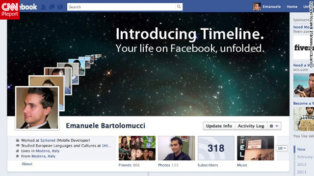 "Timeline reminds Emanuele Bartolomucci of Apple's interface so the Modena, Italy, resident decided to make over his profile, <a href='http://ireport.cnn.com/docs/DOC-765162'>OS X style</a>. ""The Timeline interface reminded me in some ways ... of Time Machine in Mac OS X, a visual, gorgeous way to navigate back in time and bring to life the various stages of our lives. So, being an Apple fan, I tried to kind of merge these two features in an Apple-ish image that reminds one of their ads when a major product rolls out,"" he says."