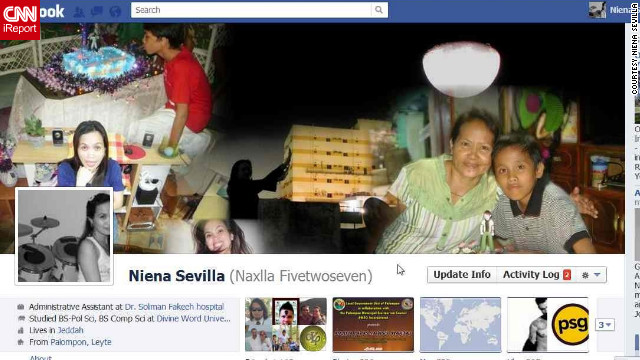 "Niena Sevilla is the rare Facebook user who was a fan of Timeline from the beginning, and she likes it for more than just the large cover photo. ""By uploading my certificates, images of my achievements and experiences on life events, I can <a href='http://ireport.cnn.com/docs/DOC-764348'>reminisce(about) those exciting moments</a>,"" she says. ""What I love the most is the cover photo because just by looking at it, it tells everything about you!"" Her cover photo is a collage of pictures of her parents and children. ""It makes me feel closer to them,"" she says. And she's uploaded all kinds of important events (with photos) to her Timeline, such as her baptism and even the first CNN story in which she was mentioned."