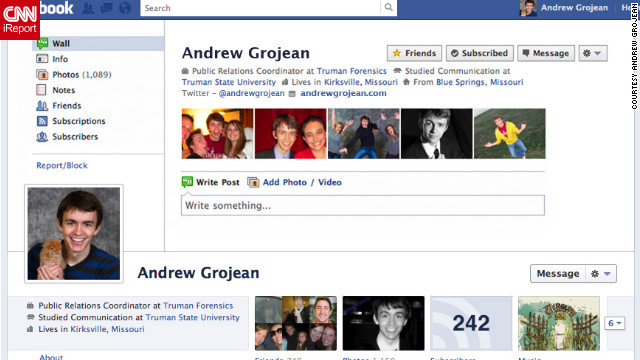 "Andrew Grojean of Kirksville, Missouri, says he loves Timeline and switched to it as soon as it was available. But he knows a lot of people don't feel the same way. ""So I tried to think of a way that people could <a href='http://ireport.cnn.com/docs/DOC-764821'>protest the change</a> without quitting Facebook. That's where my vintage or 'old school' cover photo design comes in,"" he says. Grojean styled his cover image to look exactly like his old profile. He says he was hoping to make other users do a double take."