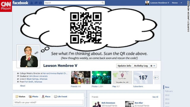 Lawson Hembree's cover photo is ever-changing -- because it's a QR code! Hembree, who lives in Siloam Springs, Arkansas, cleverly made his cover photo <a href='http://ireport.cnn.com/docs/DOC-765034'>into a thought bubble</a> extending from his profile picture, with the QR code inside the bubble. He links it to different content every week.