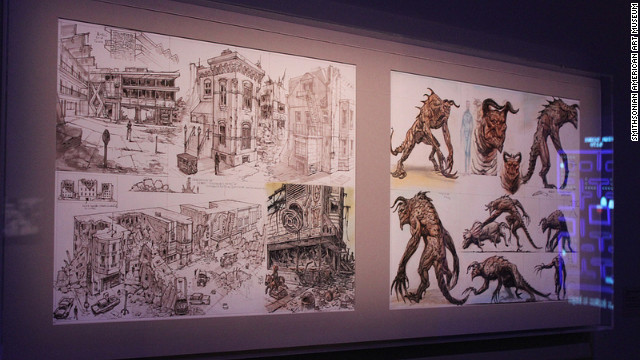 "Concept art from ""Fallout 3"" shows visitors the vision of the artists as the games were being developed. Lots of ideas about creatures and settings -- in this case, a post-apocalyptic Washington -- are tossed around before a final version is placed in the game."
