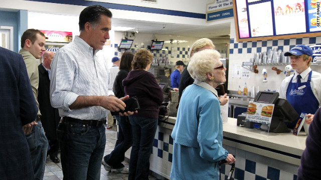 Campaigning this week in Wisconsin, Mitt Romney waits in line to order food at a Culver's restaurant in Johnson Creek.