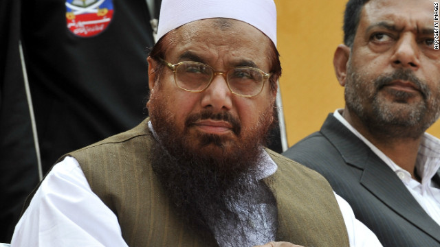 Hafiz Mohammad Saeed (L), seen here in April 2011, is head of Pakistan's outlawed Islamic hardline group Jamaat-ud-Dawa (JD)