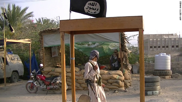 Suspected Al-Qaeda militants man a checkpoint in the southern Yemeni province of Shabwa on Tuesday.