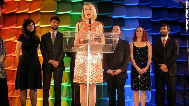 Mayer accepted the National Design Award on behalf of Google in October 2008. But public speaking and social events haven't always been easy, says Mayer: &quot;I'm a really shy person... Yet at Google, my colleagues would never believe that; because here, I'm outspoken because I feel comfortable and I feel like I can express my opinions and find my voice.&quot;