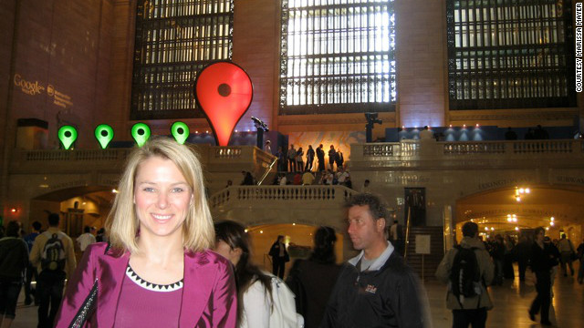 Mayer says every new product raises users' expectations of Google. Here, Mayer is at Grand Central Station in New York for the launch of the Transit feature on Google Maps. More people now access Google Maps on mobile than on desktop platforms.