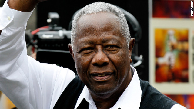 Hank Aaron, shown here at a baseball game on May 15, 2011 in Atlanta, Georgia.