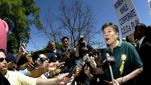 Martha Burk holds a news briefing during a protest outside Augusta National Golf Club during the Masters in 2003 in Georgia.