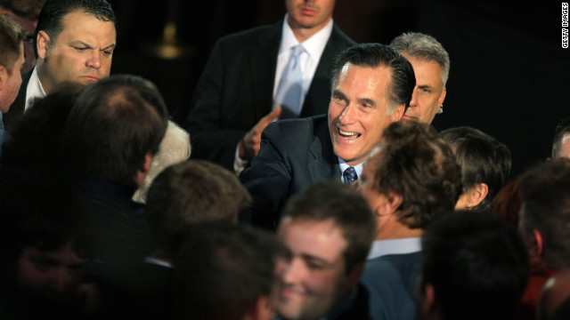 Mitt Romney greets supporters at an election night rally Tuesday in Milwaukee, Wisconsin.