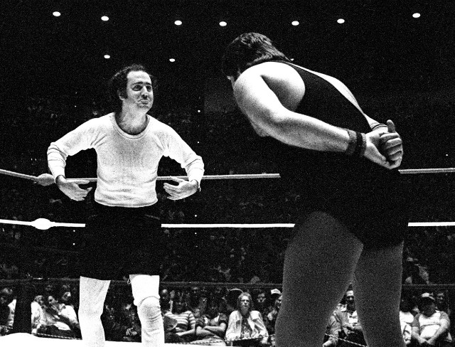 Comedian Andy Kaufman taunts Jerry ''The King'' Lawler in the Memphis ring in 1982.