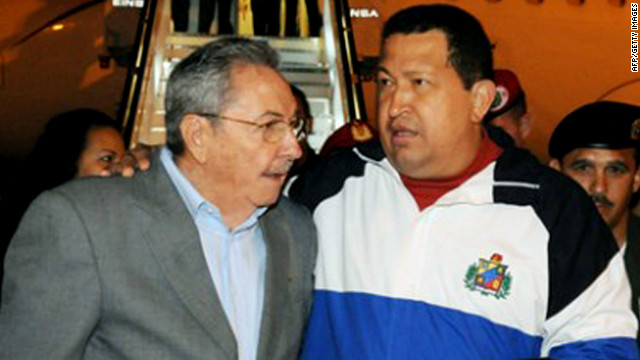 Cuban President Raul Castro, left, greeted Venezuelan President Hugo Chavez upon his arrival last week.