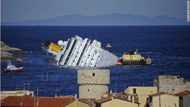 The cruise liner Costa Concordia, seen on January 25 hit rocks and sank off the coast of Italy's Giglio Island on January 13. 